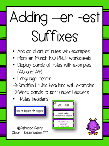 Suffixes -er -est - English / Literacy Activities - NO PREP - Resources & Worksheets!