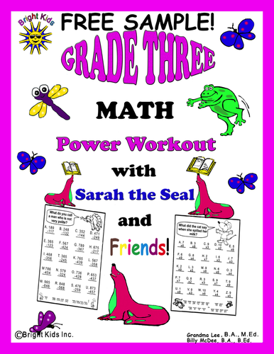 Bright Kids Grade 3 MATH Power Workout - Save Time! Just Print and TEACH!! FREE SAMPLE!