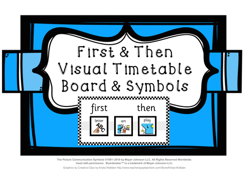 First & Then visual timetable board with timetable symbols