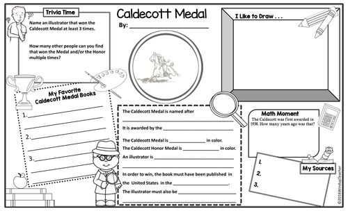 caldecott award coloring pages   Caldecott Medal Activity Poster Sheets by WindupTeacher ...