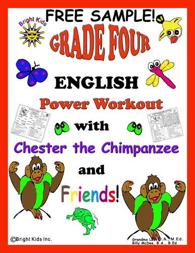 BRIGHT KIDS GRADE 4 ENGLISH WORD POWER WORKOUT!! Save Time! Just Print and TEACH! FREE SAMPLE!
