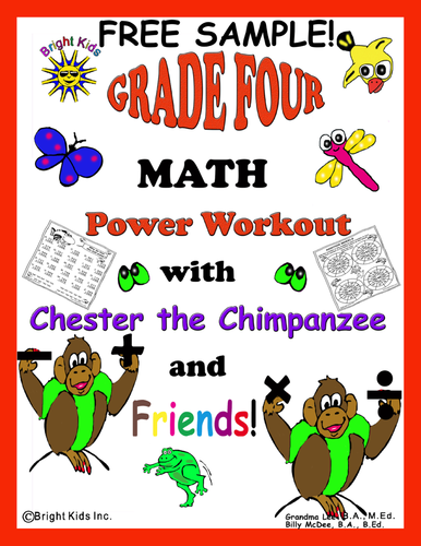 Bright Kids Grade 4 Math Power Workout - Save Time! Just Print & Teach! FREE SAMPLE!