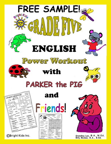 Bright Kids Grade 5 English Word Power Workout - Save Time! Just Print and TEACH!! FREE SAMPLE!