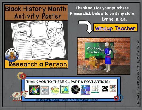Black History Month Activity Sheet by WindupTeacher