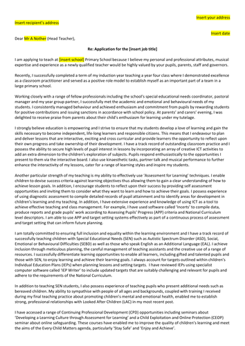 Exemplar cover letter/personal statement for NQT job seekers