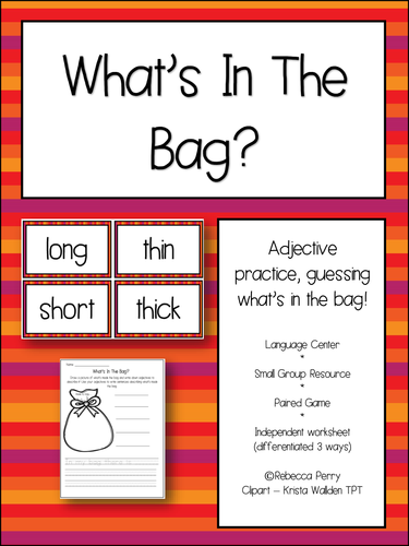 Literacy / English Adjectives Activity - What's in the bag? NO PREP ...