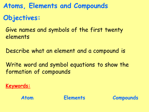 Elements And Compounds Worksheet Teaching Resources