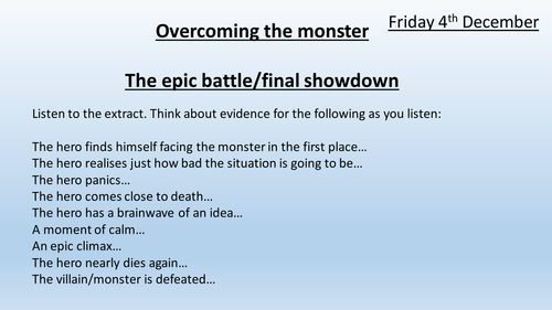 Overcoming the Monster Year 7 English (Stormbreaker extract)