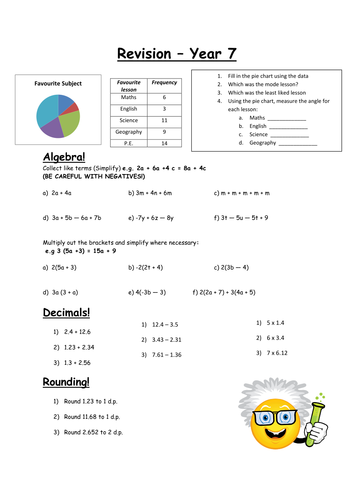 8x worksheets for year 6 learners revising for sats algebra pie charts roman numerals ks2 by. Black Bedroom Furniture Sets. Home Design Ideas