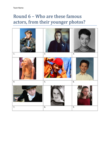Picture Rounds Quiz - 6 round with answers