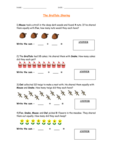 The Gruffalo - Sharing/Dividing Worksheet