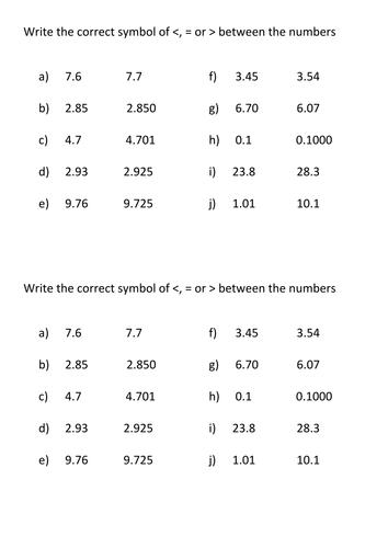 Ordering decimals and inequalities