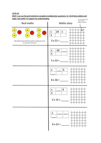 grid method multiplication using concrete  pictorial  abstract  grid method multiplication using concrete  pictorial  abstract by  lthomas  teaching resources  tes