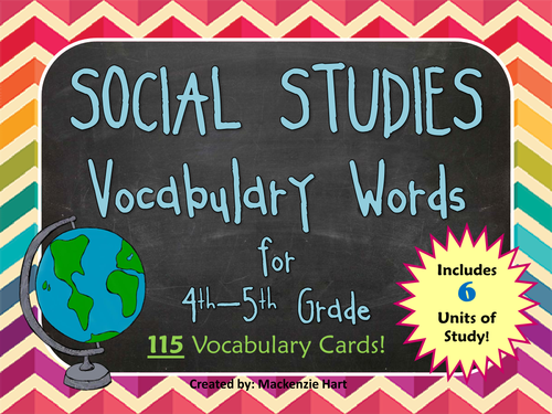 Social Studies Vocabulary Cards