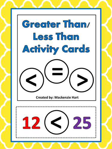 Greater Than/Less Than Activity Cards