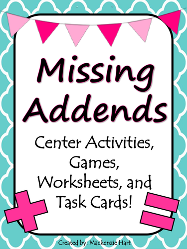 Missing Addends Activities