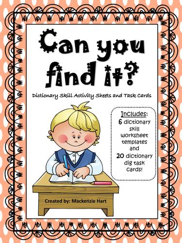 Dictionary Skill Acitivity Sheets and Task Cards