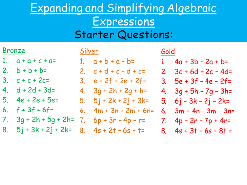Expanding and Simplifying Algebraic Expressions by – Simplifying Algebraic Expressions Worksheet