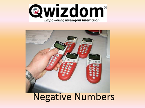 Maths QWIZDOM Powerpoint - Negative Numbers Revision Quiz