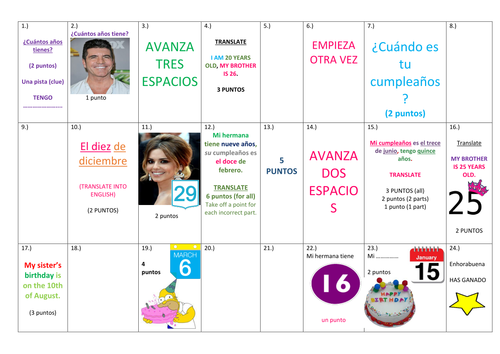 SPANISH BOARD GAME, AGES, DATES, BROTHERS/SISTERS , great for speaking practice