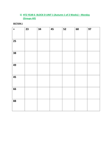 Year 6 -  Maths / Numeracy Planning Worksheets