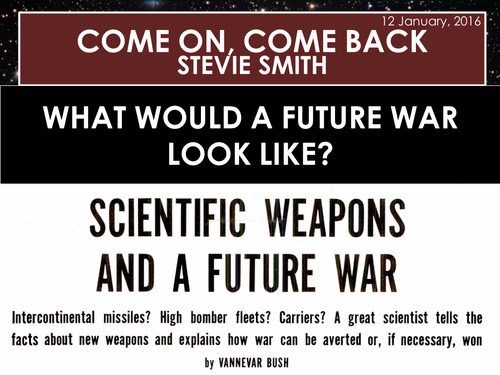 Come On, Come Back - Stevie Smith (AQA Conflict Poetry Cluster GCSE)