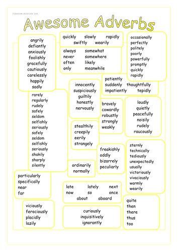 KS2 Literacy - SPAG - Adverbs word bank