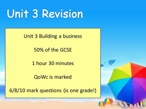 Business Studies Intensive Revision - EDEXCEL Unit 3