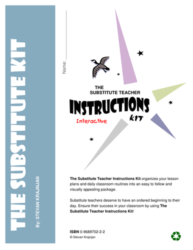 SUBSTITUTE TEACHER INSTRUCTIONS KIT - interactive