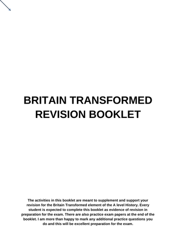 A level History Britain Transformed Revision Booklet