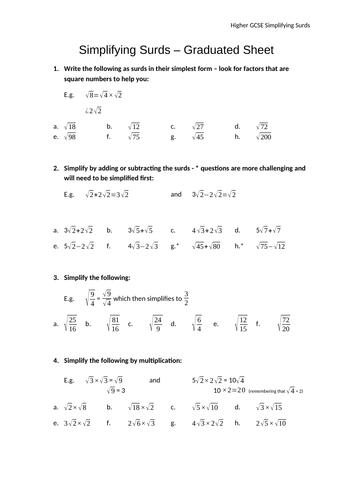 Simplifying Surds - Progressive Sheet