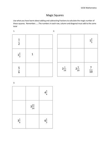 Adding Fractions Magic Squares