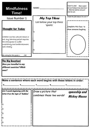 Form Time Fun Quiz - Mindfulness Activity - 10 original worksheets age 8 - 88