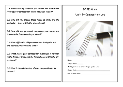 Unit 2 Composition and  Appraisal Log Book