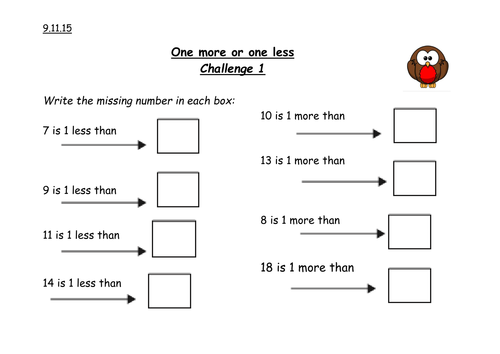 One less one more challenge by caro_ob15 - Teaching Resources - Tes
