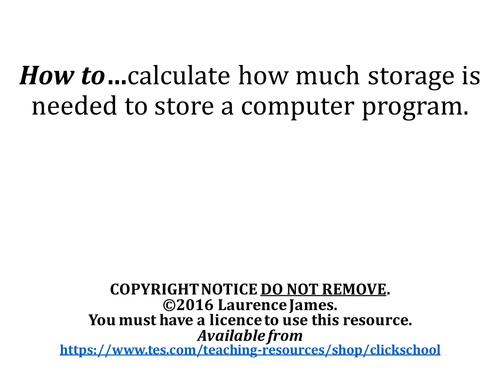 Clickschool 39 s shop teaching resources tes Calculating storage requirements