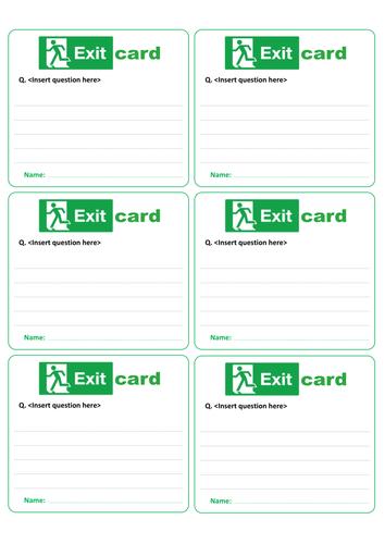Classroom 'Exit Card' - AfL, pupil feedback etc.