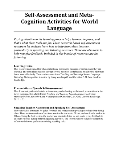 Self-Assessment and Meta-Cognition Activities for World Language