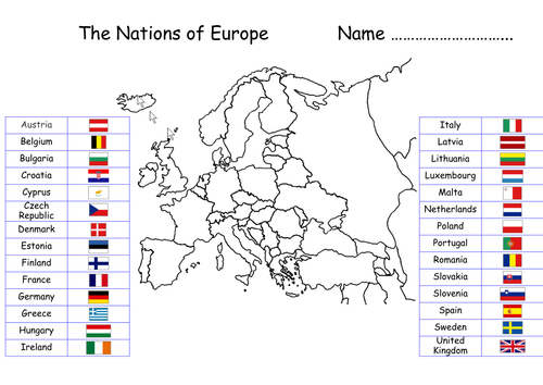 Maps of UK and Europe with flags and labels to connect