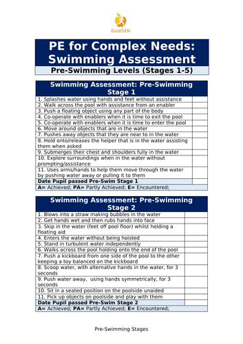 Sen Swimming Assessment And 5 Accompanying Lessons By Goldsen Teaching Resources Tes