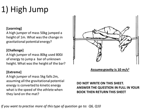 Energy Calculations by mcjkt Teaching Resources TES – Worksheet Kinetic and Potential Energy Problems