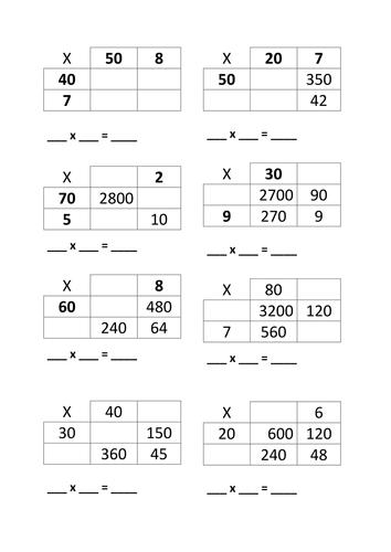 Division Worksheets division worksheets with grids : Missing Value 2-digit grid method multiplication by Patrika1 ...