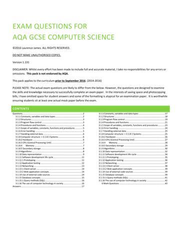 AQA Computer Science Practice Exam Questions (Full version)