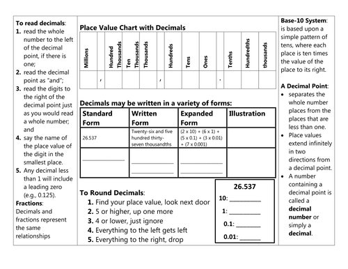 Decimal Foldable and Notes Pages