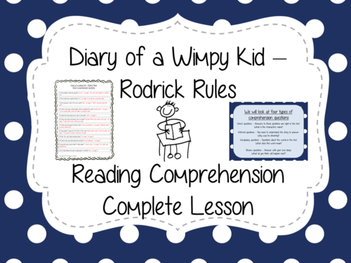 Reading Comprehension Diary of a Wimpy Kid by TheGingerTeacher – Diary of a Wimpy Kid Worksheets