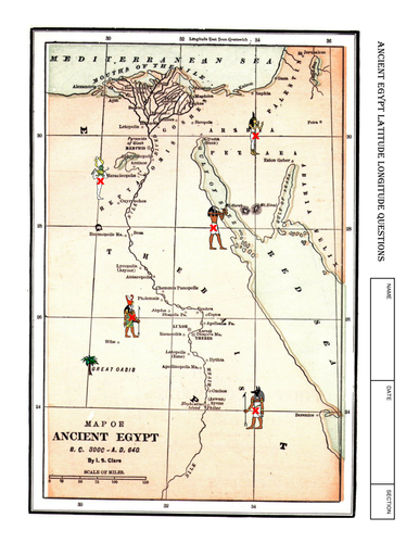 Worksheet ANCIENT EGYPT Latitude Longitude Questions & Map by ...