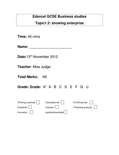 Multiple choice excel template by astevensn teaching resources tes edexcel gcse 12 end of unit test with answers pronofoot35fo Images