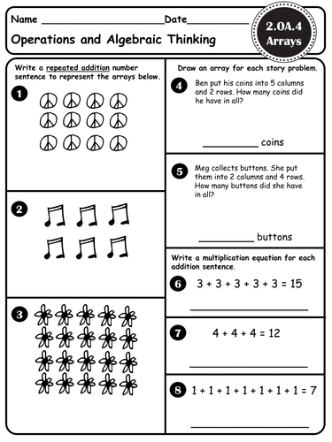 ARRAYS - Introduction to Multiplication - CCSS 3.MD.C.7, 3.MD.C.7b, 3.OA.A.3, 2.OA.4, 2.G.A.2