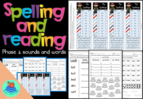 Phase 2 words for spelling and reading