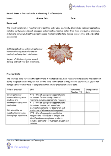 AQA 9-1 GCSE Chemistry - Required Practicals - Practical 3 - Electrolysis